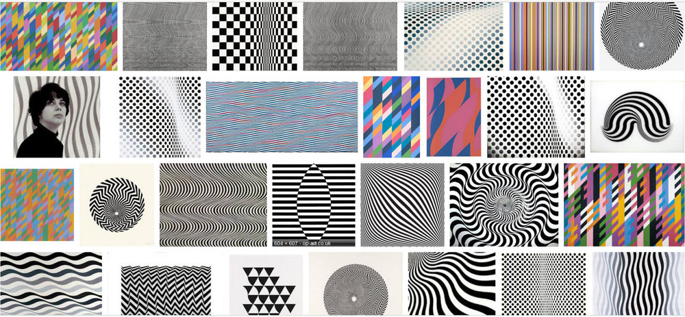 No photographs allowed in the gallery, but a google image search for Bridget Riley soon produces a page of examples!