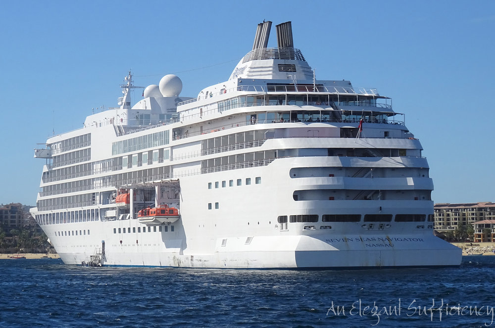Seven Seas Navigator anchored off Cabo San Lucas last year