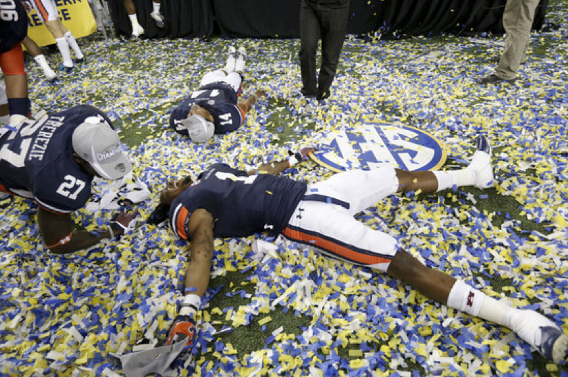 Auburn players after the Tigers' victory over Missouri in the Southeastern Conference championship game last season. AP