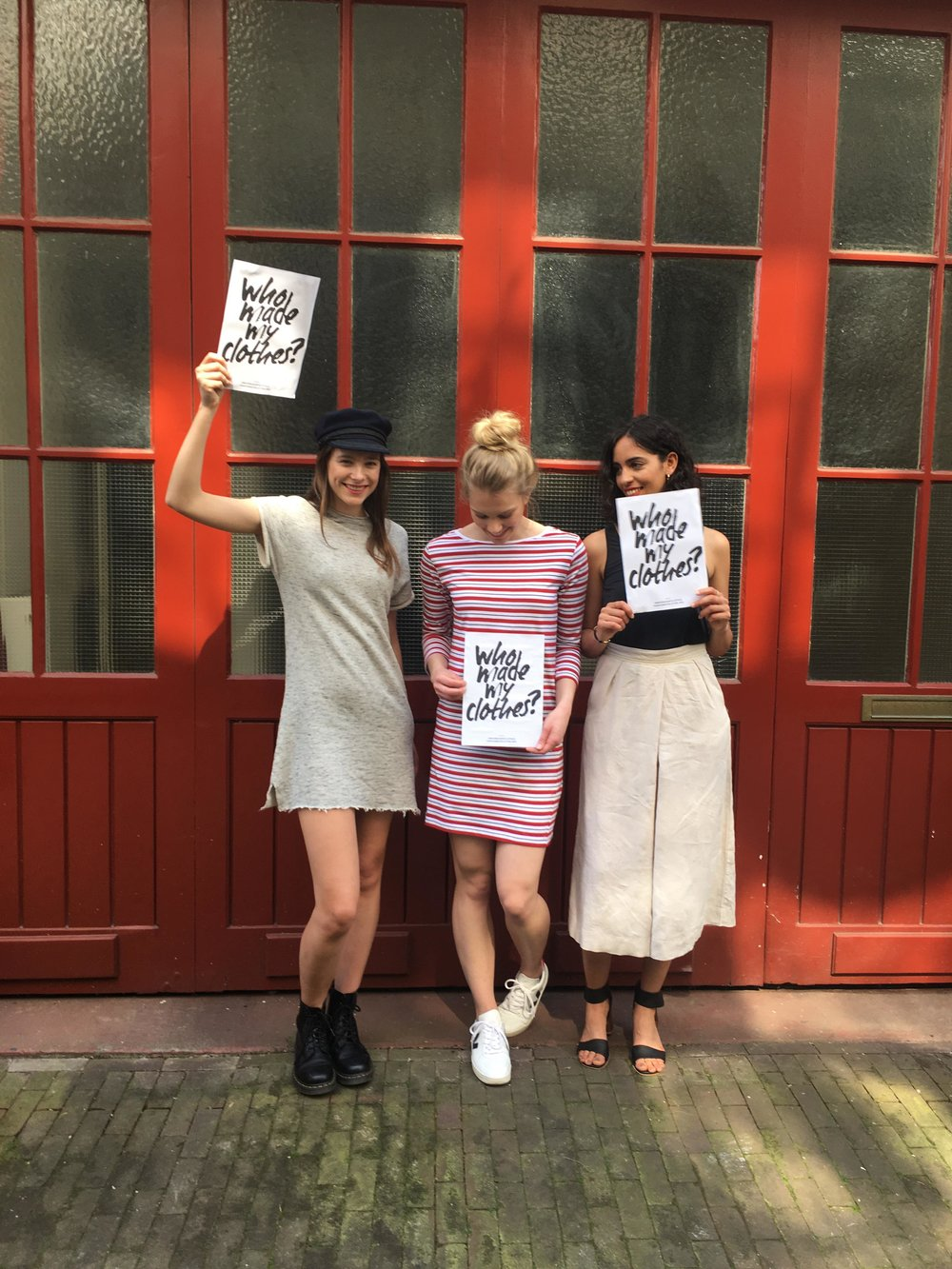 TGL models showing their support of the Fashion Revolution #whomademyclothes campaign