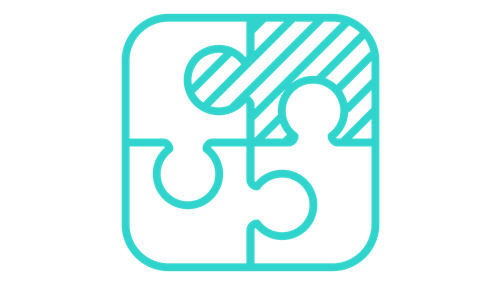 Icon of a puzzle with different shaded pieces
