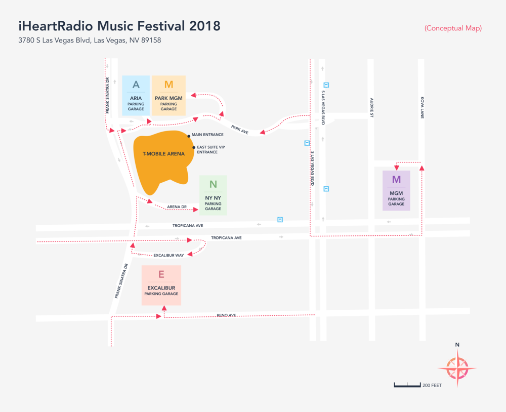 Figure 7.   (After)  iHeartRadio Music Festival Map, redesigned, using Sketch.