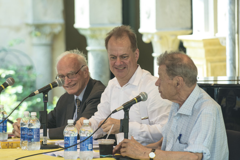 Philip Gossett, Will Crutchfield and Andrew Porter in a panel discussion at Caramoor (photo by Gabe Palacio)