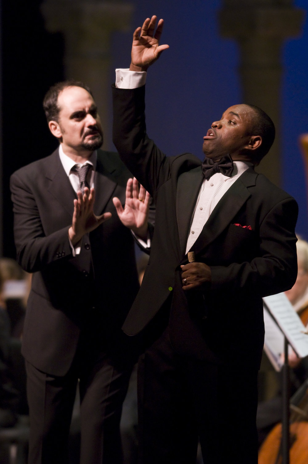 Marco Nistico and Lawrence Brownlee in L'elisir d'amore at Caramoor (photo by Gabe Palacio)