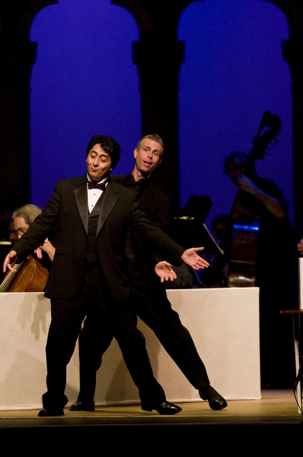 Ricardo Herrera and Daniel Mobbs in Il barbiere di Siviglia at Caramoor (photo by Gabe Palacio)