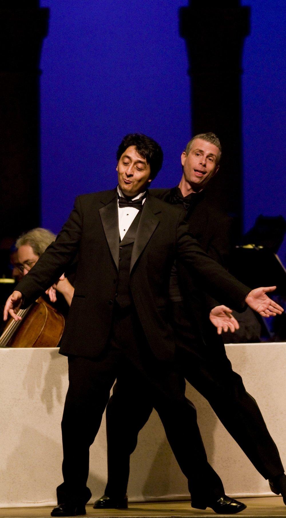 Ricardo Herrera and Daniel Mobbs in Il barbiere di Siviglia at Caramoor photo © Gabe Palacio