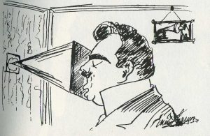 Enrico Caruso - self-caricature, recording studio