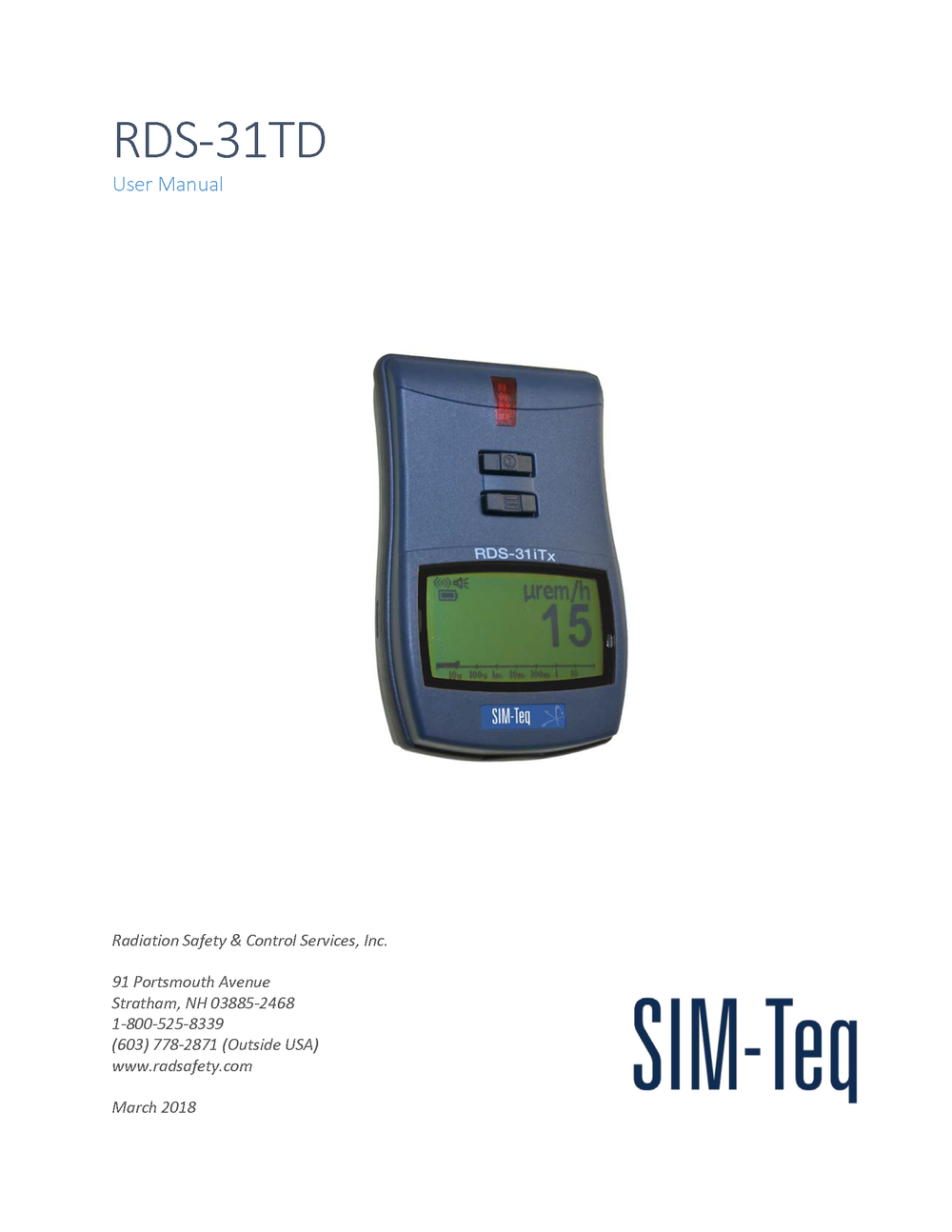 RDS-31TD User Manual