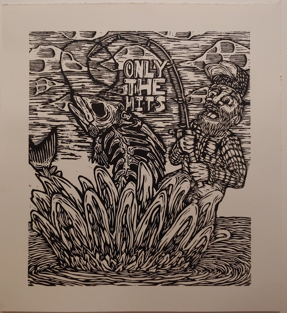 Pulling the Weeds  Woodcut   15.5 x 16.5
