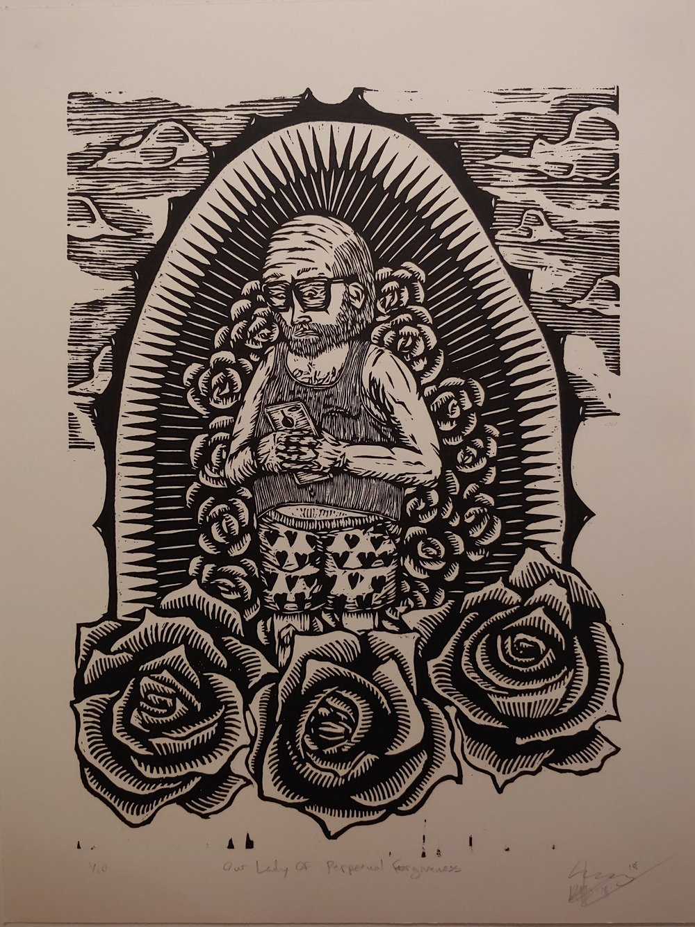 Our Lady of Perpetual Forgiveness  Woodcut  15.5 x 20.5