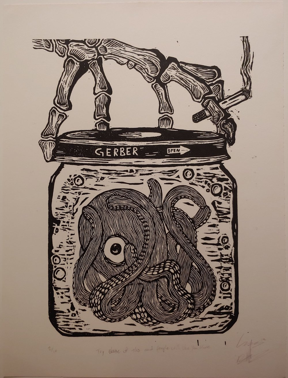 Try Some of This and People Will Like You More  Woodcut  15.5 x 20.5