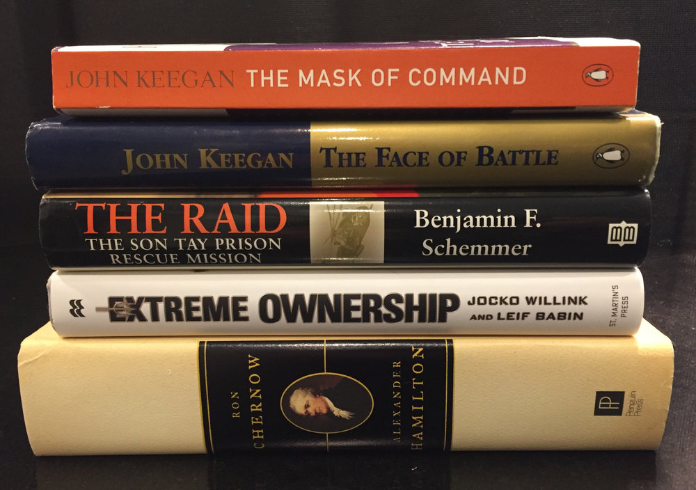 """Jon Cannon's List of Books he recommended to me. I've read three of them, but The Raid and Alexander Hamilton are on my """"Too Read"""" pile."""