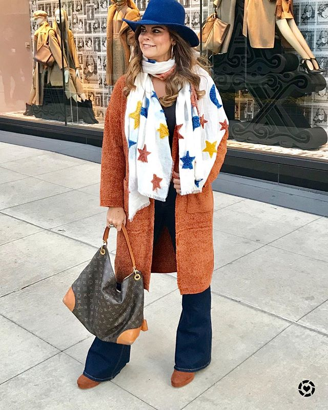 Channeling my inner Boy George! This scarf is everything fabulous and this cardigan is under $35. Shop my look by Downloading the free LIKEtoKNOW.it app you can screenshot this photo or simply follow my Southern Shine 2017 LIKEtoKNOW.it page #liketoknowit #liketoknowitunder50 #southernstyle #chicover50 #falloutfits #fallstyle2018 #chicago #mississippifashionblogger #southershine #citystyle
