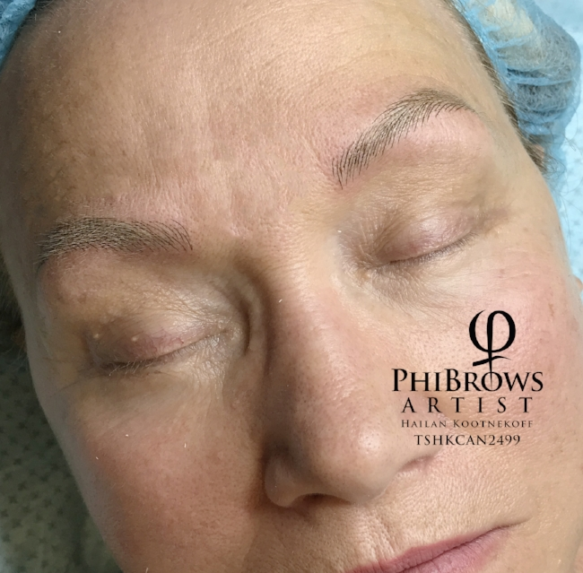 Microblade Eyebrow Feathering for Blond hair