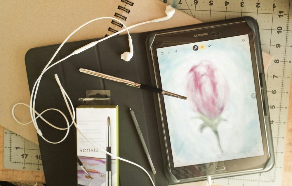 """The sensu brush lets me feel that I'm actually drawing on my tablet for real! Nice! The app I'm using in this picture is """"Bamboo Paper""""."""