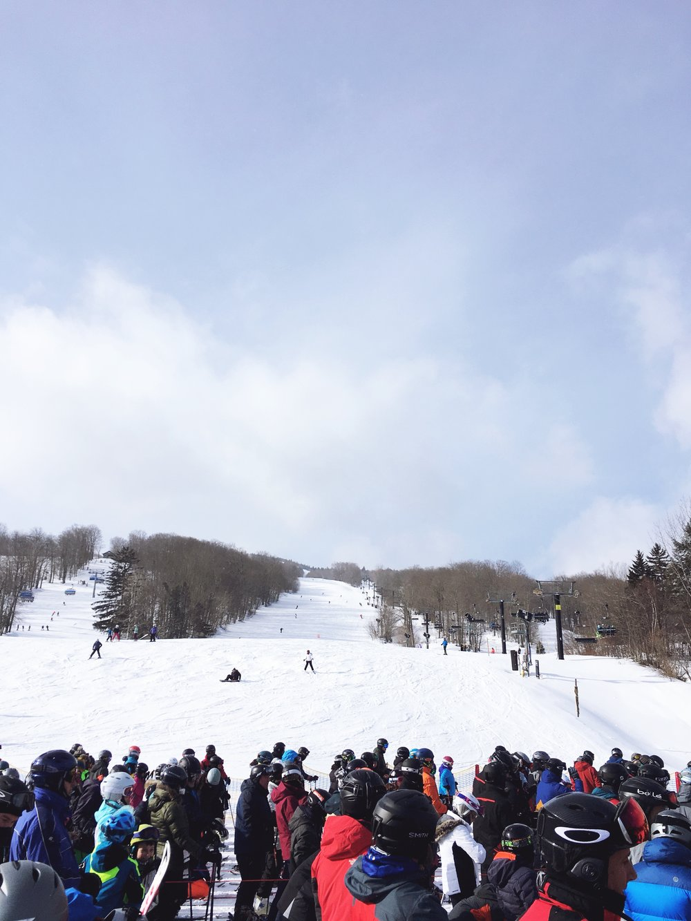 Braving the crowds at the base of Mount Snow