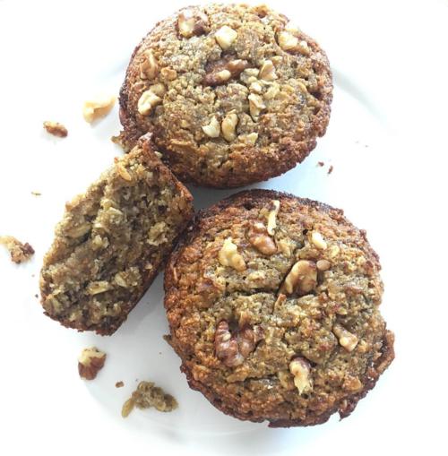 banana oat nut muffins