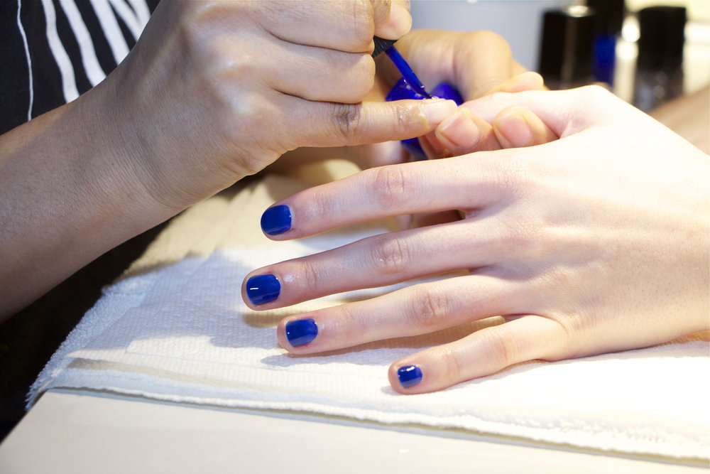 - nail color Blue Iris being applied perfectly!
