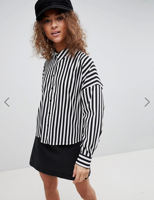 ASOS DESIGN- Crop Shirt in Stripe