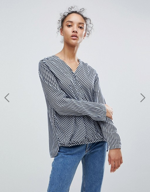 b. Young- Stripe Wrap Blouse