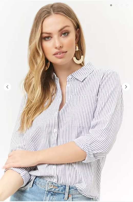 Forever21 Striped Dolphin Hem Shirt