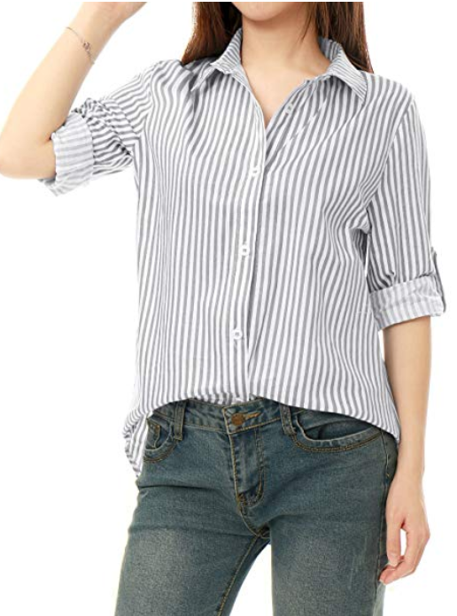 Amazon Allegra K- Vertical Stripe Button Down