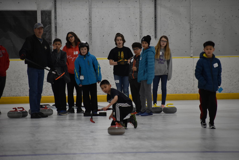 Youth Curling - Several times each season, the Curling Club of Rochester hosts events specifically for youth. Similar to Learn to Curl events, Youth Curling clinics cover the basics of delivery and how to throw different types of shots, explore beginning curling strategy, and play a short game. After the clinic, youth curlers get to broomstack at the arena with cookies. The Club plans to have regular Youth Curling clinics and leagues once a dedicated curling facility is built in Rochester.