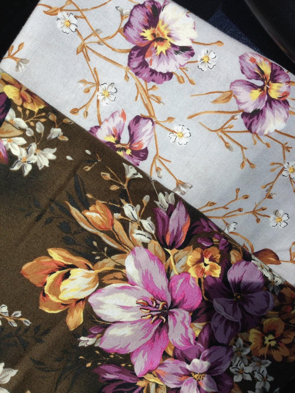 Grey and Brown Floral fabric for dressmaking