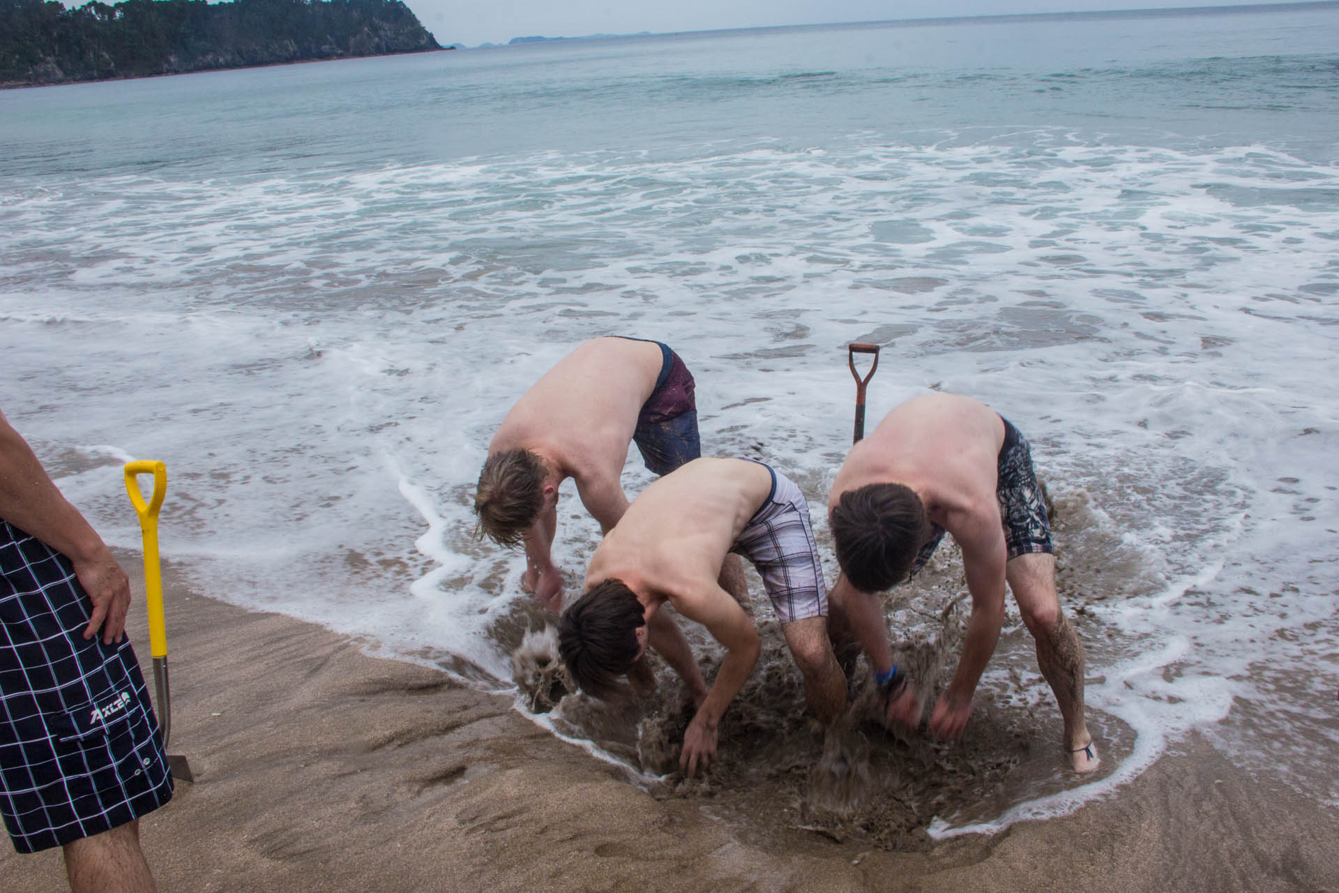 digging at hot water beach, new zealand