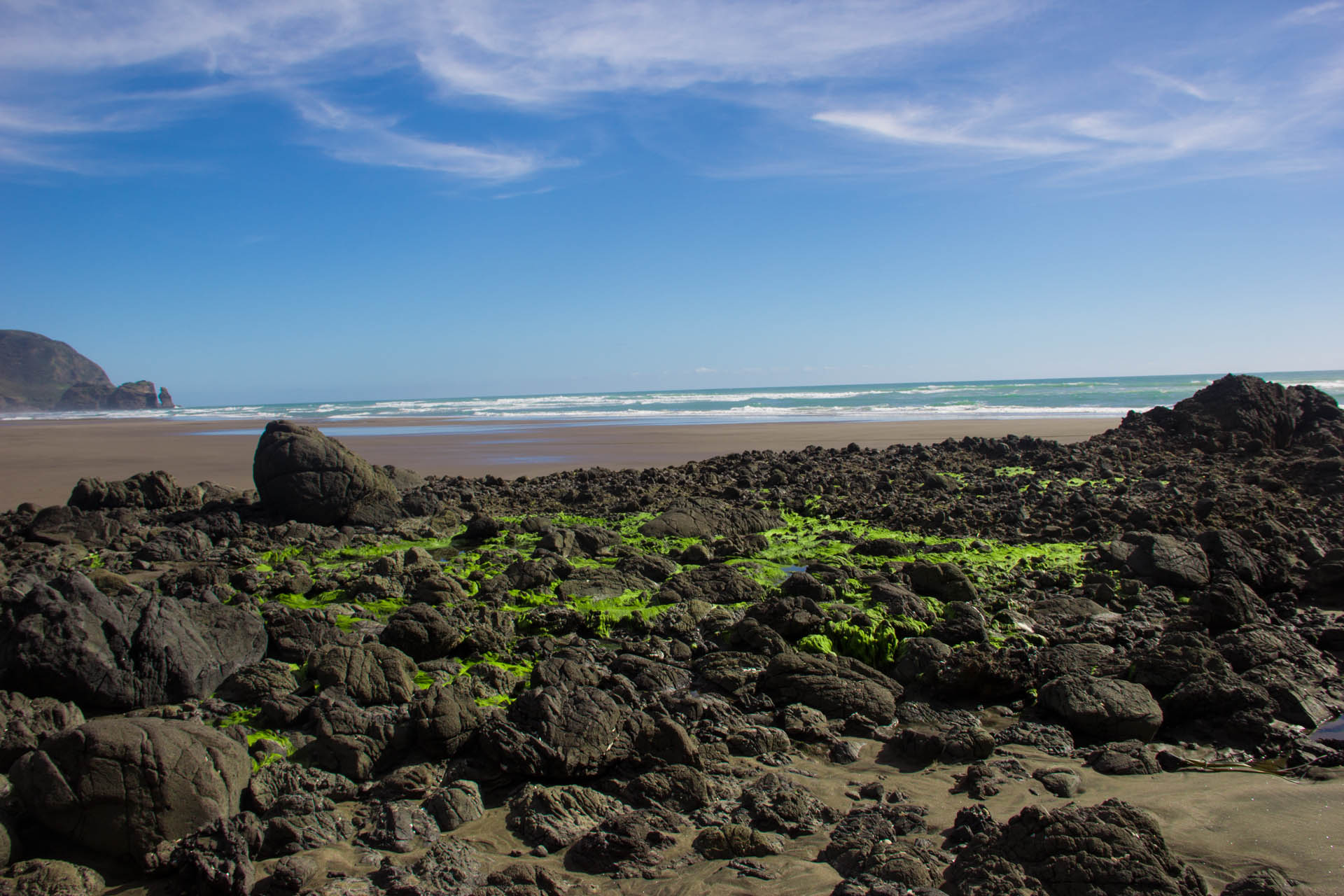piha and volcanic rocks beach new zealand