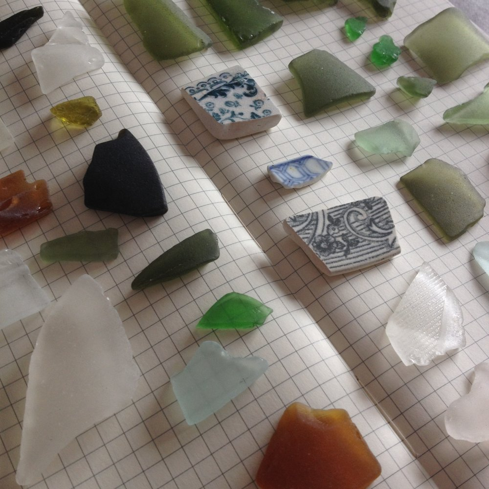 new zealand sea glass beach pottery shards