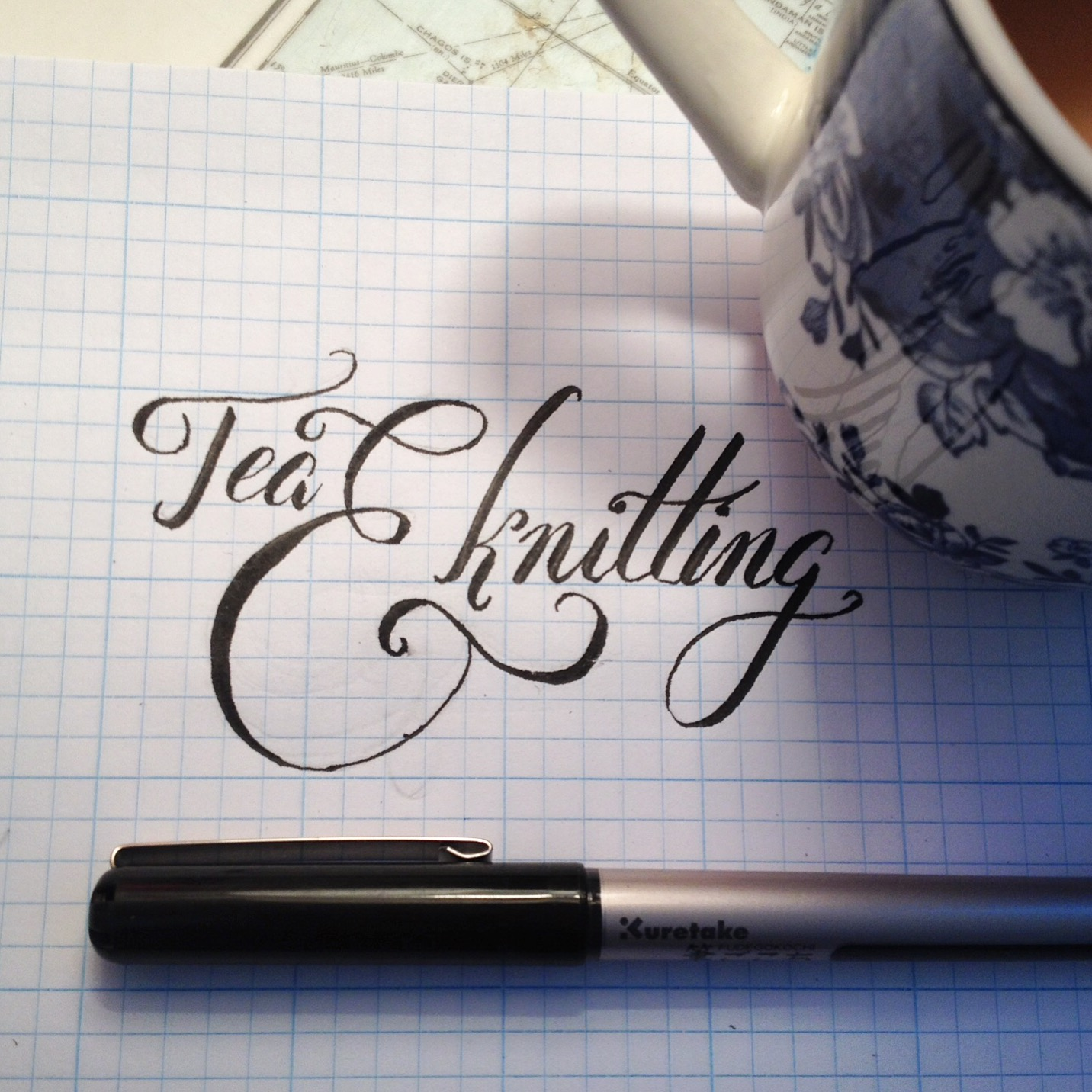 hand lettering tea and knitting practice on graph paper kuretake
