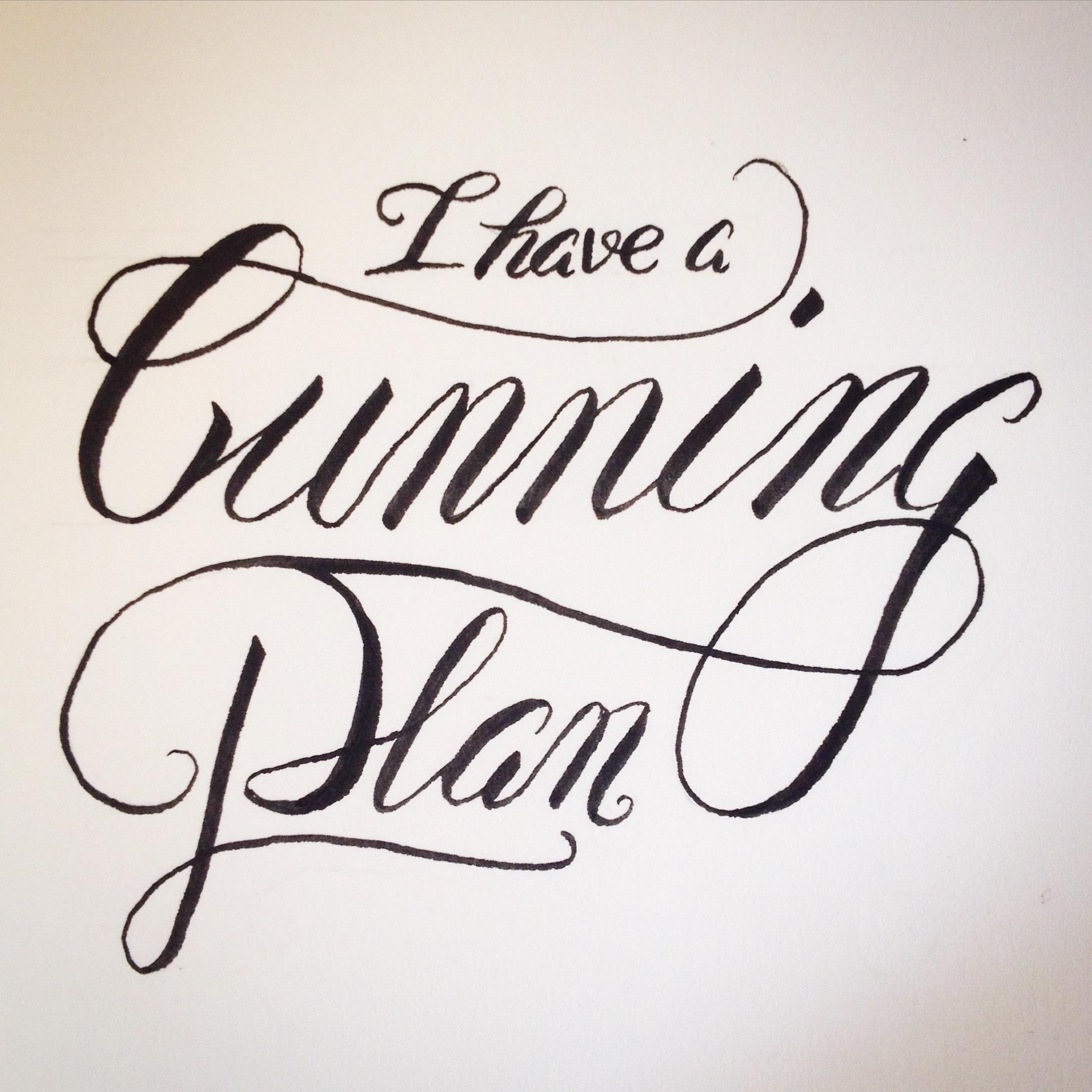 hand lettering brush pen lettering practice cunning plan