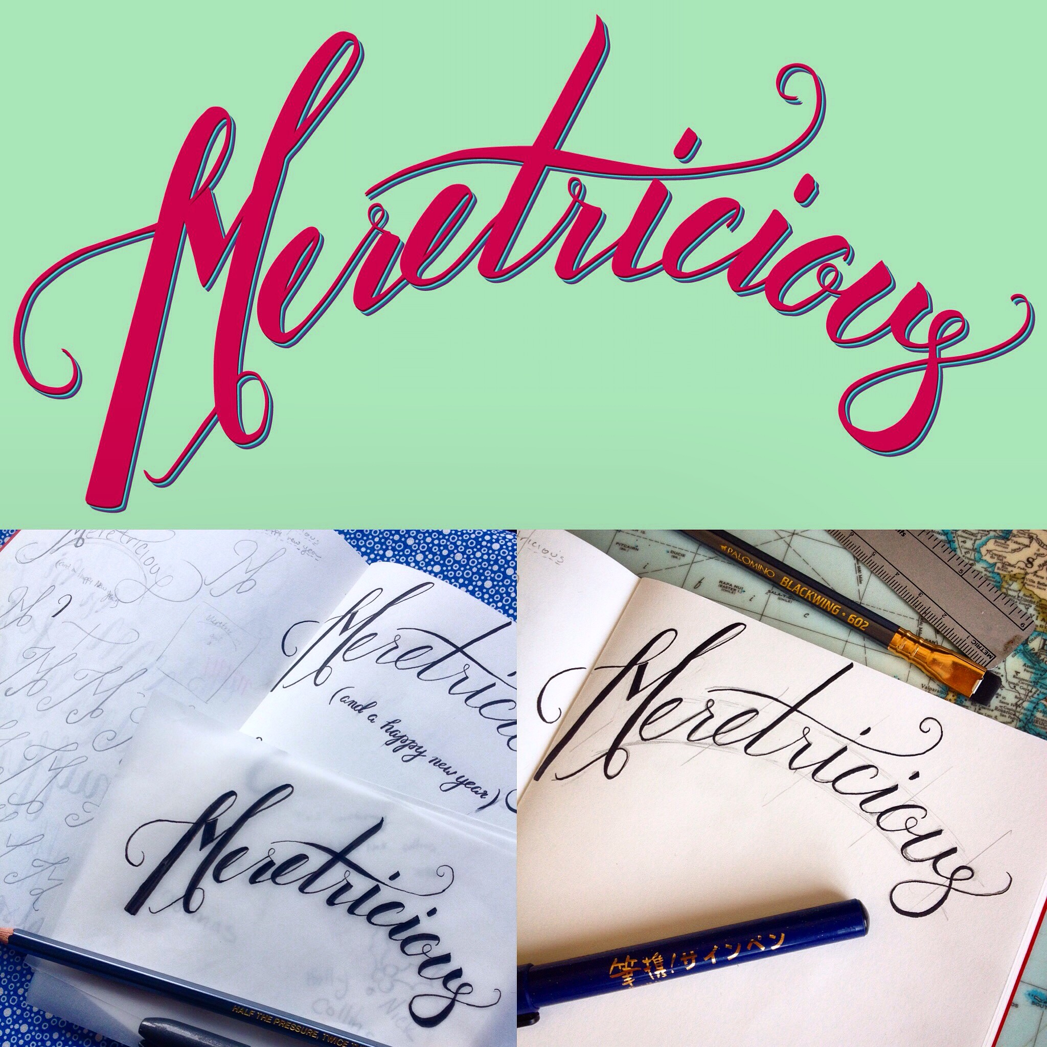 hand lettering example of sketching, lettering, and digitizing in illustrator
