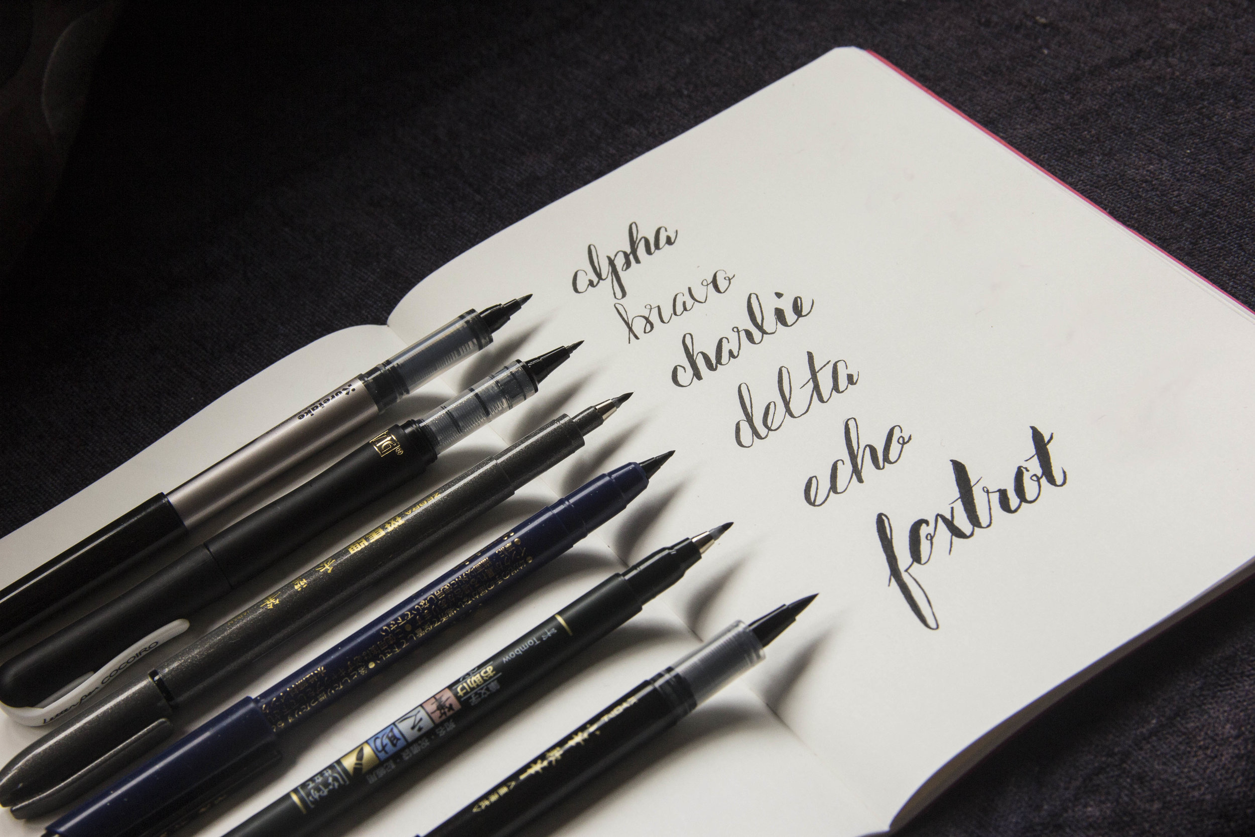 brush pen examples for hand lettering. Exploring the differences between pens