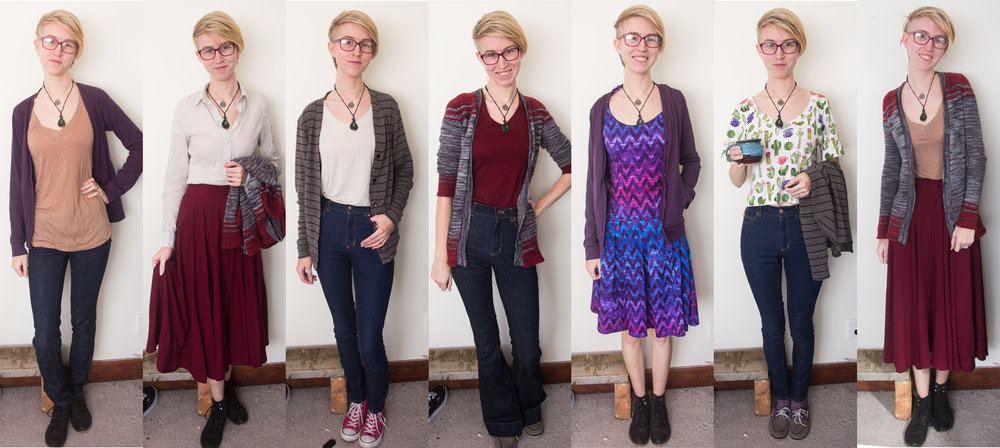 Five days of 100% Me-Made this week! Repeat performances from Thyone, the Square Cardi, Circle Skirt, Ginger Skinnies, and the Camel Cashmere tee. The purple dress is an outlier to my otherwise well-established 'uniform'.