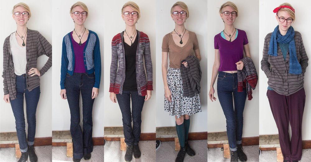I'm beginning to feel really predictable, looking at all these together. However, I am really happy at the fact that most of my repeats are different combinations rather than entire outfits. Saturday is not only me-made but also 100% Merino, and Sunday's not pictured- the circle skirt outfit here which I ended up wearing all day, full makeup.