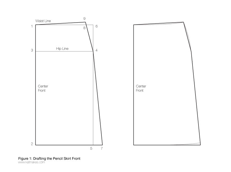 pencil skirt draft front diagram