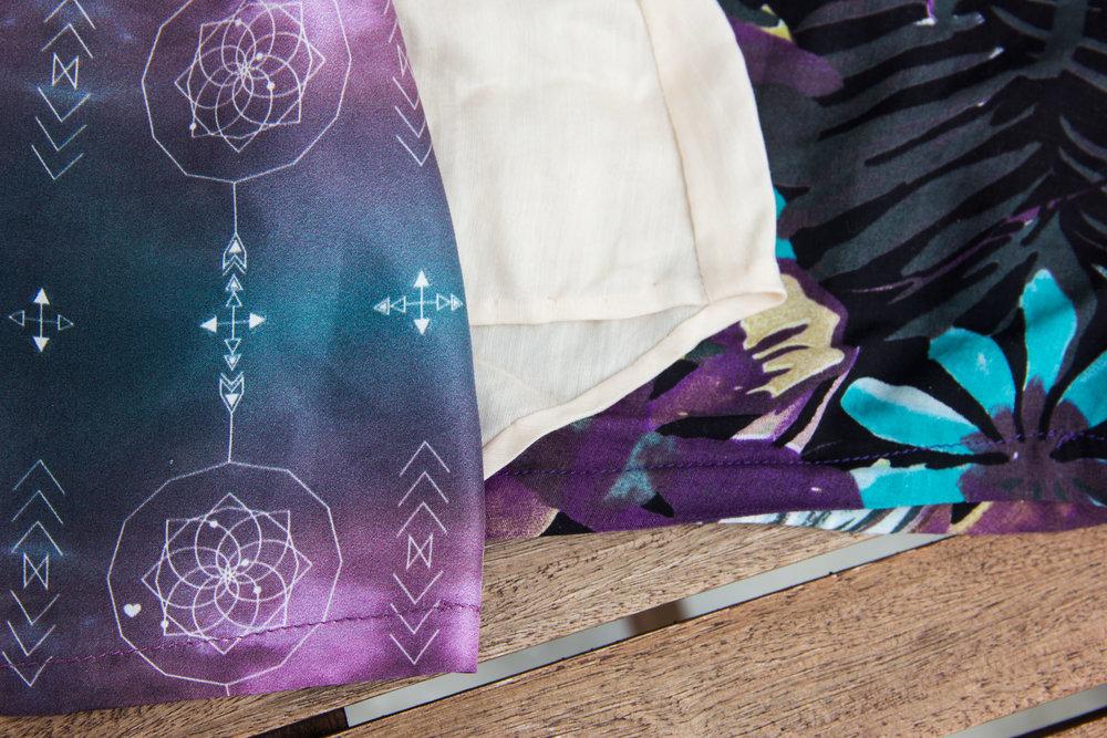 Hems: Straight folded hem, hand stitched handkerchief hem, and self bias tape bound hem.