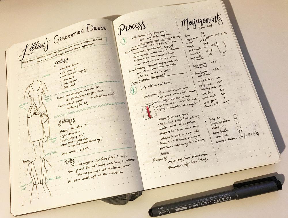 bullet journal sewing plan