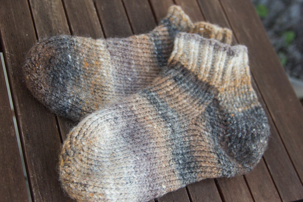 hand knit slipper socks