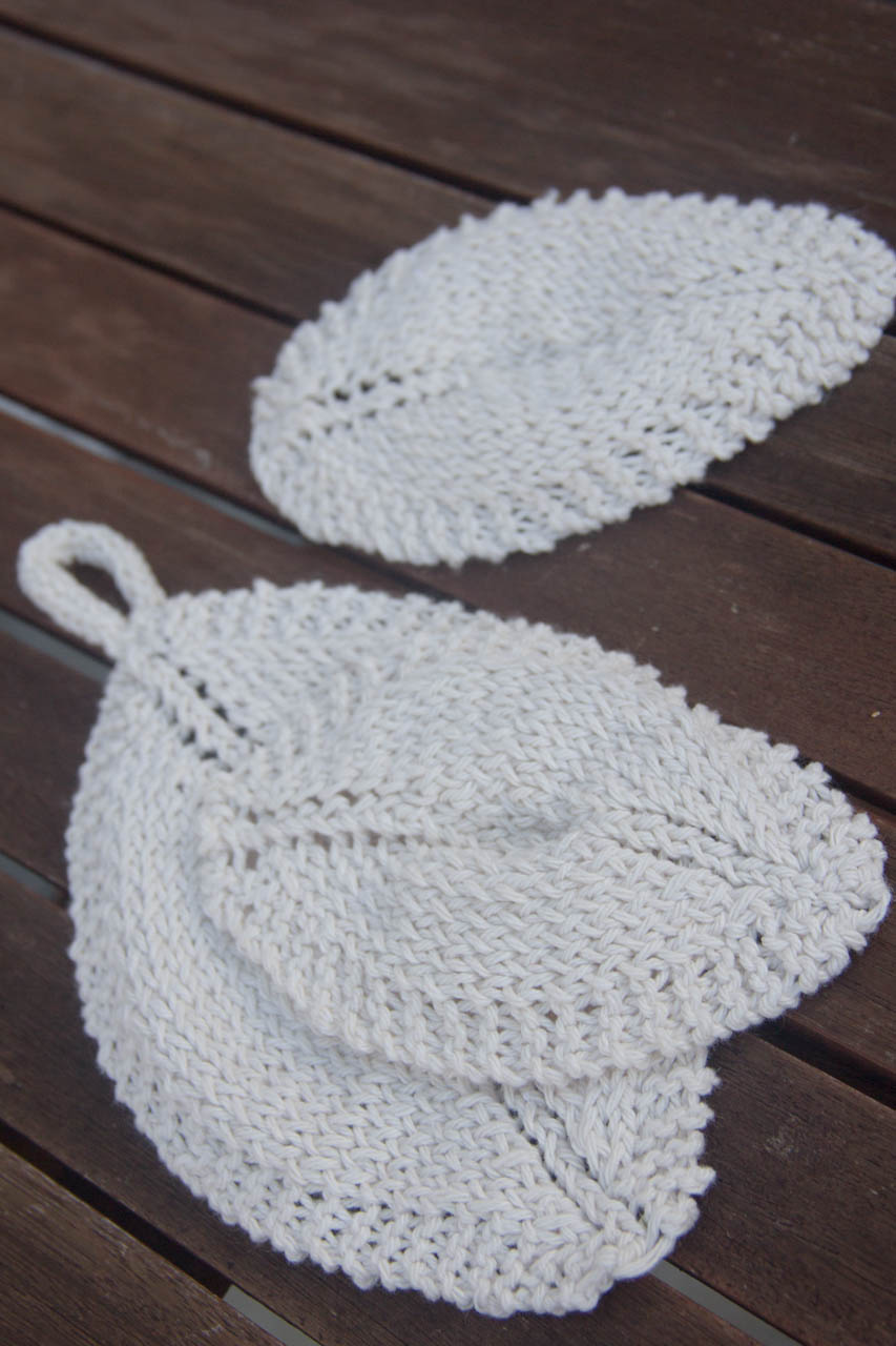 handknit leaf washcloths