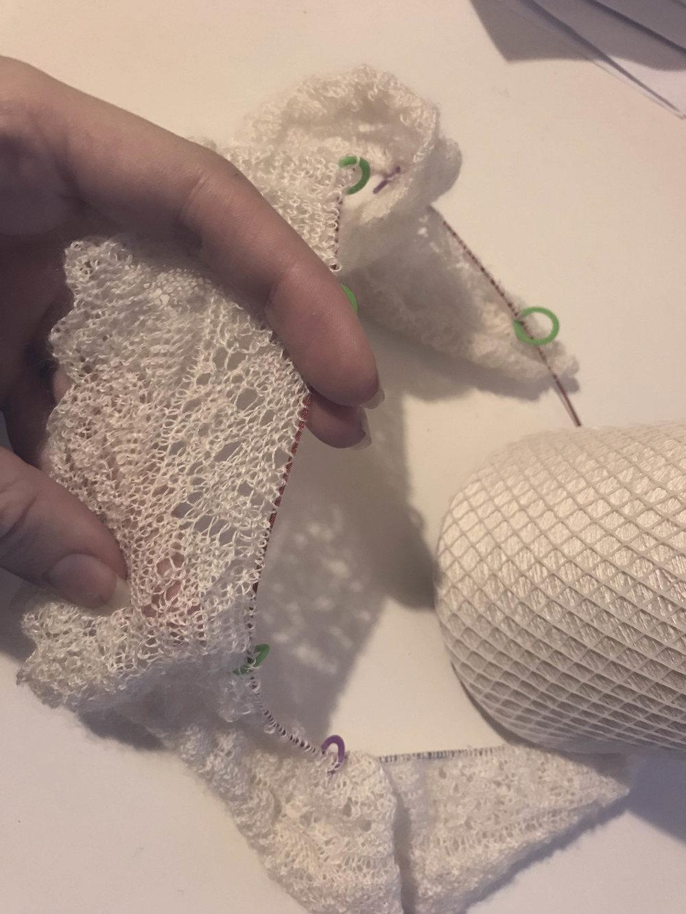 wedding ring shawl in progress