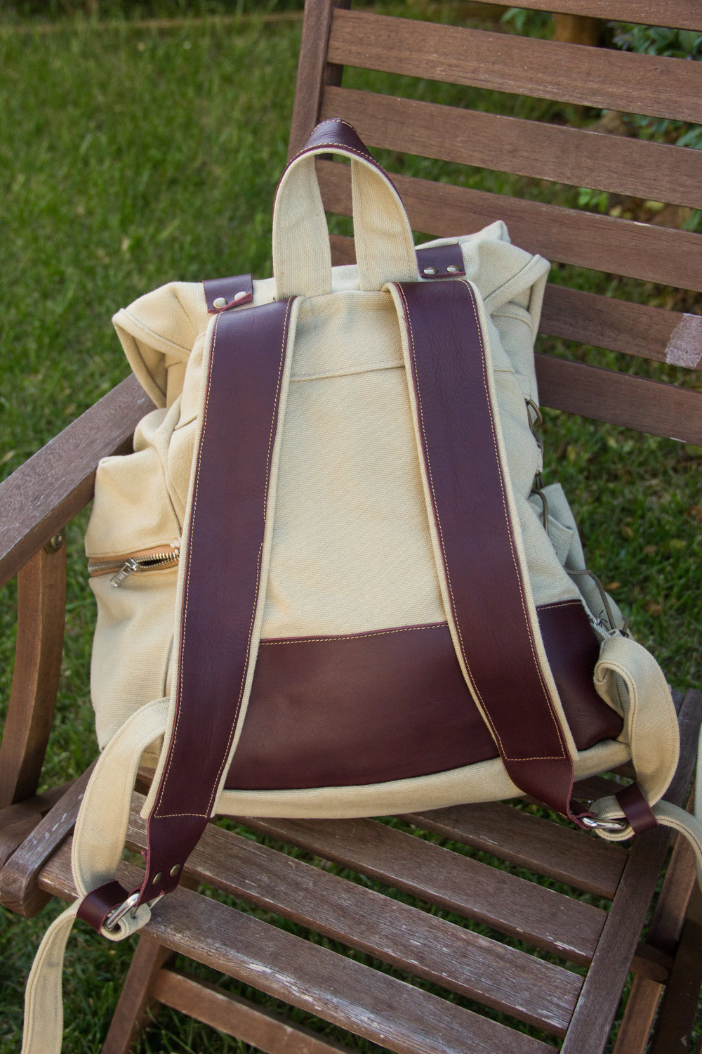 back of handmade leather backpack