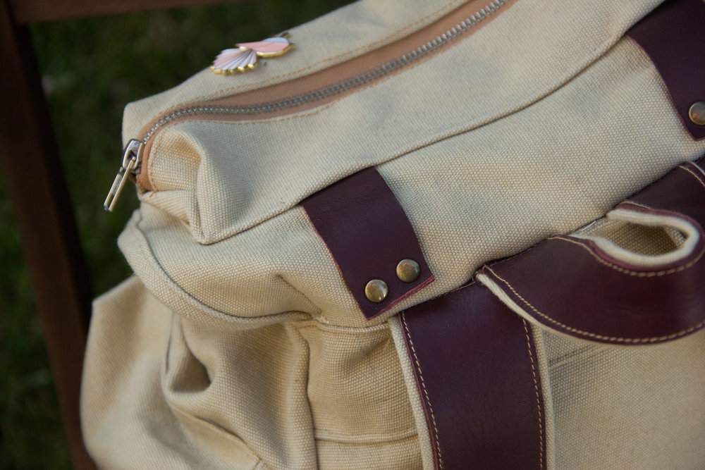 top of canvas backpack