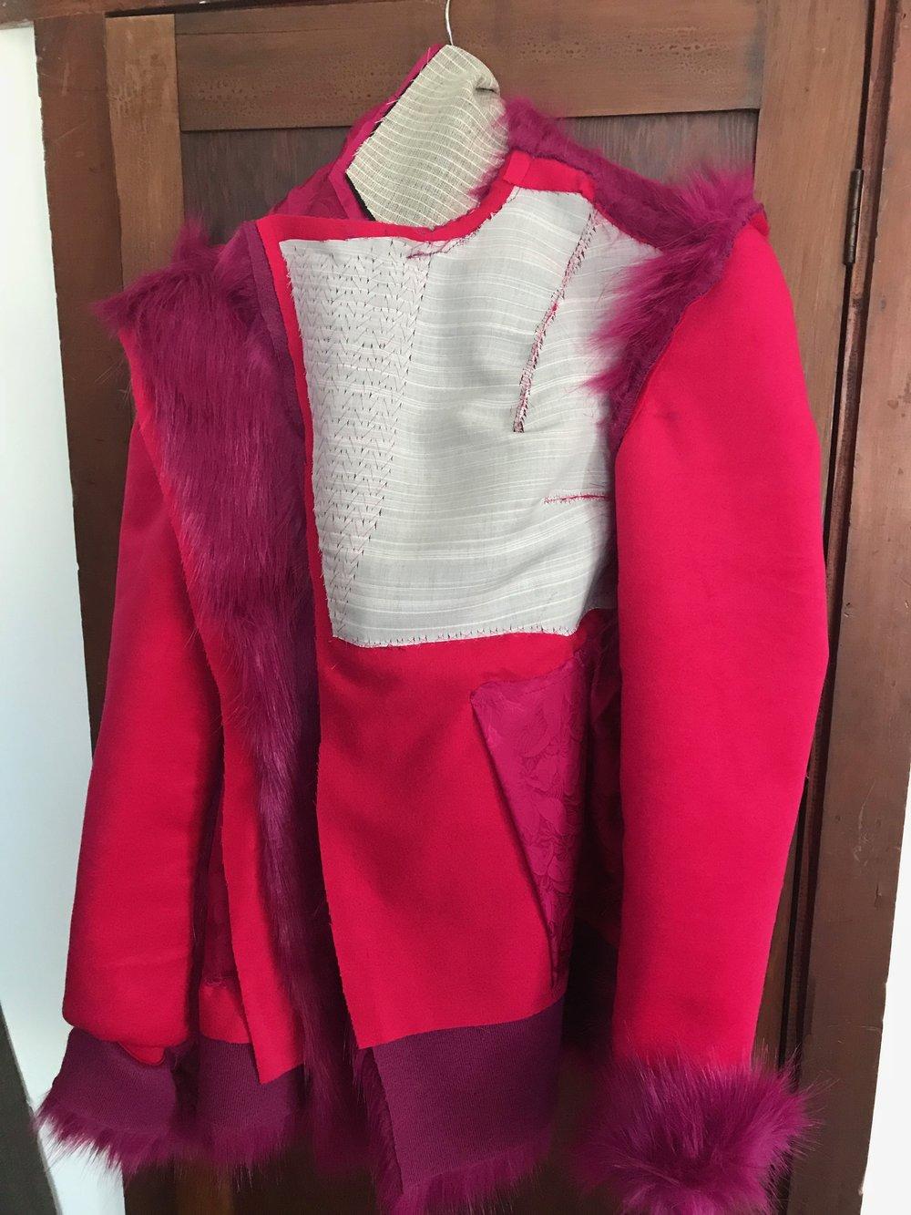 underlining of faux fur coat