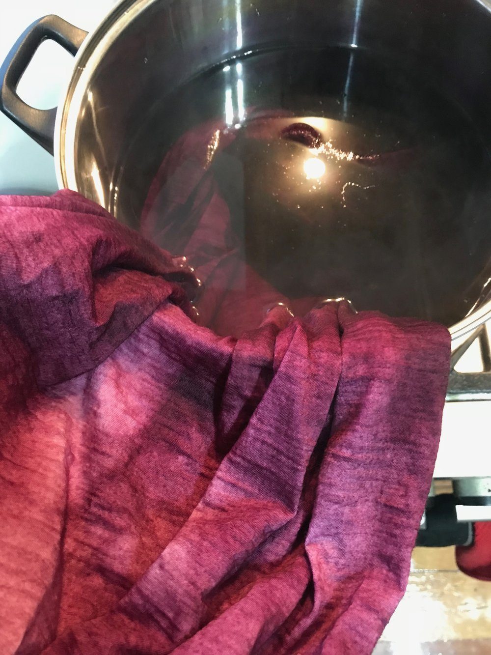 acid dyed dress in progress
