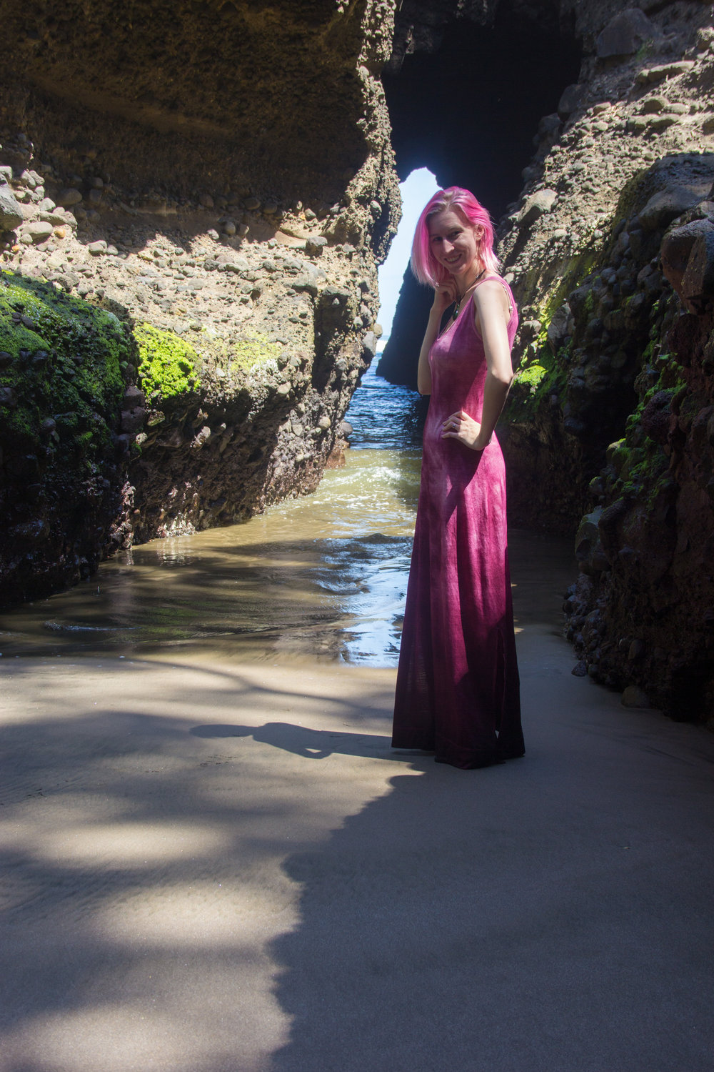 merino maxi dress side view