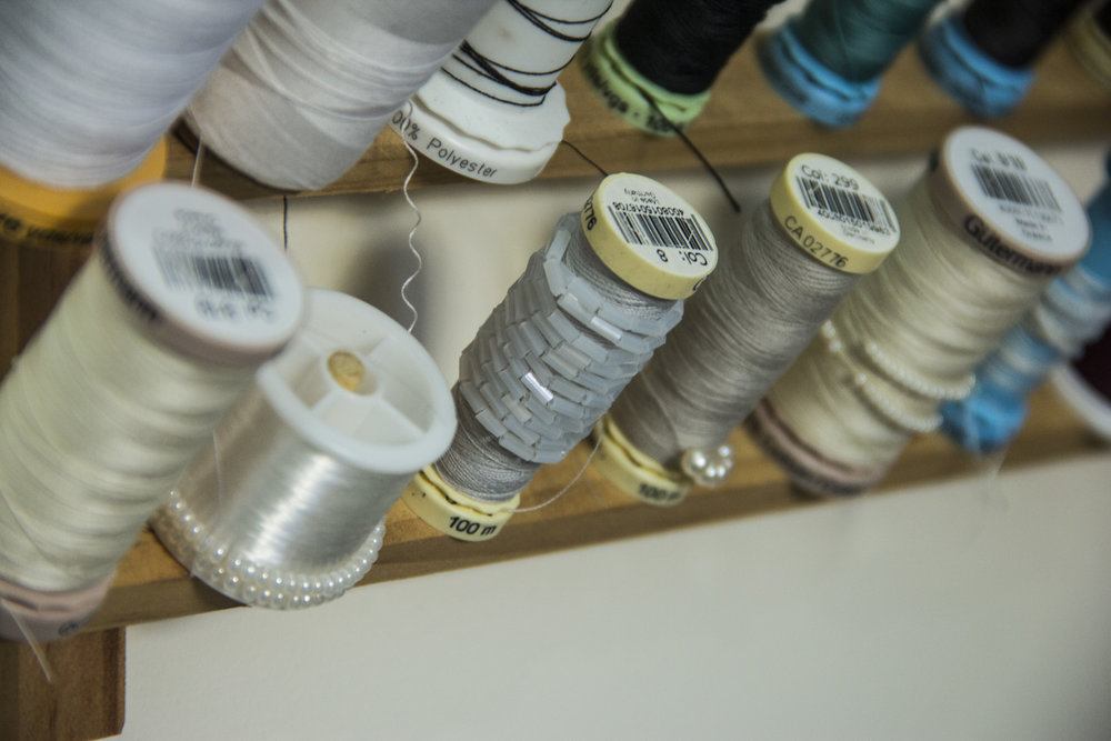 tambour beads on thread spools
