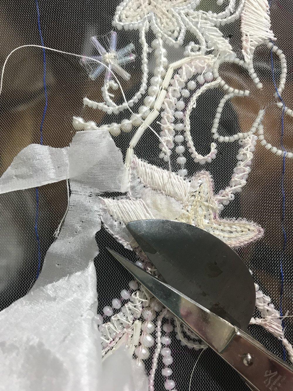 trimming silk habotai with duckbill scissors